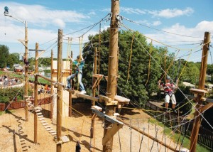 Ropes course at Haggerston Castle Holiday Park, near Berwick-upon-Tweed, Northumberland