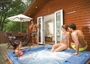 Relaxing in the hot tub at Bluewood Lodges, Kingham, Oxfordshire